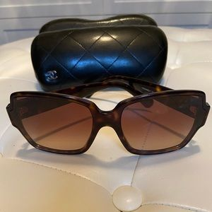Chanel square tortoise shell sunglasses
